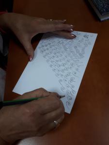 2019 Kaligrafijos pamoka Kelmės TAU studentėms